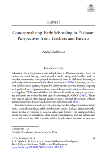 Conceptualizing early schooling in Pakistan: Perspectives from teachers and parents